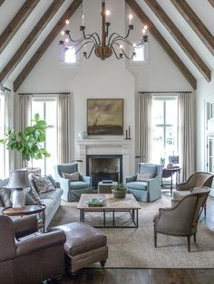 When homeowners invite guests and company into their home typically the first thing that visitors see is the living room, or family room, of the house. Unless there is a foyer before the living roo… Coastal Living Rooms, Living Room Interior, Living Room Furniture, Living Room Decor, Living Spaces, Spacious Living Room, Kitchen Furniture, Small Living, Modern Living