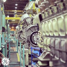 EVO #locomotive #engines on the #factory floor at #GE #Transportation in Grove City, PA.