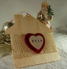 New Home 2012 Wooden House Ornament by aphroditescanvas on Etsy, $18.00