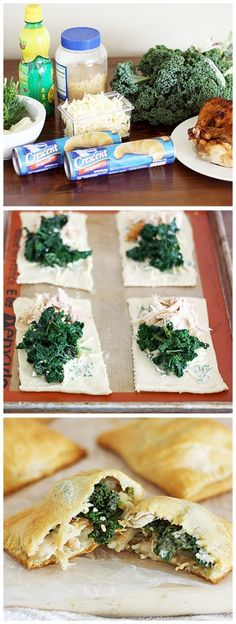 Chicken Kiev Kale Pockets - Herby butter is slathered on crescent rolls then topped with cheddar cheese, garlicky kale and shredded rotisserie chicken. I Love Food, Good Food, Yummy Food, Great Recipes, Favorite Recipes, Food To Make, Healthy Snacks, Chicken Recipes, Meals