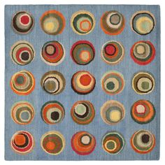 Safavieh Soho Collection Handmade Modern Abstract Blue and Multi Premium Wool Square Area Rug Square) Beige Area Rugs, Wool Area Rugs, Wool Rug, Square Rugs, Washable Rugs, Rug Shapes, Blue Abstract, Rug Making, Brown And Grey