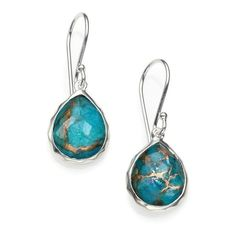 Ippolita Bronze Turquoise, Clear Quartz  Sterling Silver Earrings (880 ILS) ❤ liked on Polyvore featuring jewelry, earrings, silver, ippolita earrings, turquoise jewelry, turquoise teardrop earrings, sterling silver teardrop earrings and quartz earrings