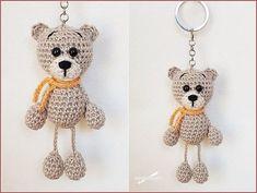 Crochet Bear /// Crochet Keychain Schema all& - Taschenbaum. Crochet Bear, Crochet Gifts, Crochet Animals, Knitted Dolls, Crochet Dolls, Knitting Patterns, Crochet Patterns, Knit Headband Pattern, Amigurumi Tutorial