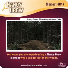 Nancy Drew moment from Ghost Dogs of Moon Lake: Getting lost in the woods. #NancyDrew #DOG #HerInteractive