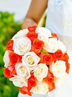 Bridal Bouquets and Wedding Flowers: Bouquet with orange and white roses