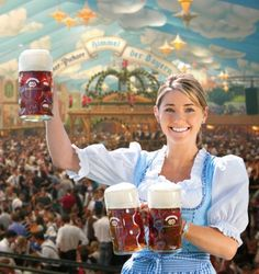 Oktoberfest in Munich Germany. Waitress in the Hacker-Pschorr tent.