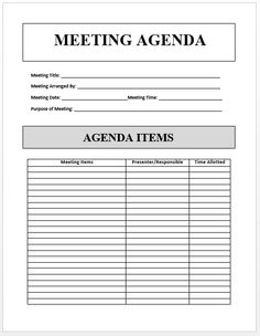 Here is Sample Agenda Template available for free download,