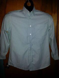 Indigo Palms Denim Company Green White Striped Mens Long Sleeve Dress Shirt M #IndigoPalms $18 Free Shipping!