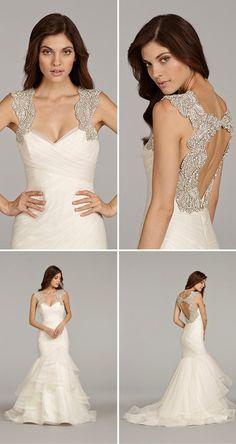 alabaster and crystal encrusted back, Hayley Paige 2014 Emeryn ... via The Wedding Suite