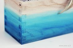DIY Ombre Watercolored Box | One O DIY Diy Ombre, Ombre Paint, Painted Trunk, Painted Furniture, Dip Dye Fabric, Watercolor On Wood, Diy Box, Centerpiece Decorations, Wood Boxes