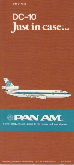 Pan Am Douglas DC-10 Pan Am Safety Instruction Card