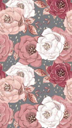White & pink rose print pattern - Wallpapers for Phones Tumblr Wallpaper, Screen Wallpaper, Cool Wallpaper, Trendy Wallpaper, Beautiful Wallpaper For Phone, Nature Wallpaper, Mobile Wallpaper, Rose Gold Wallpaper, Flower Wallpaper