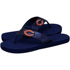 Chicago Bears Ladies Navy Blue Sequin Strap Flip Flops  #FanaticsWishList  @Fanatics ®