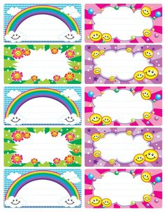 Preschool Smiley Faces and Rainbow Class Name Badges - Preschool Children Akctivitiys Boarder Designs, Page Borders Design, School Name Labels, Cubby Tags, Preschool Names, School Frame, Kids Background, Classroom Labels, School Items