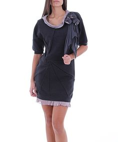 Take a look at this Anthracite & Lilac Ruffle Trim Dress by Merdor on #zulily today!