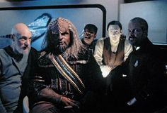 "Sir Patrick, Michael, LeVar, Brent and Jonathan in a ""future"" pic from 1994's All Good Things- The series finale."
