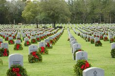 Taken at Bushnell National Cemetary in Florida during Wreaths Across America 2013.  Wreaths Across America Mission;  Our mission, Remember, Honor, Teach, is carried out in part by coordinating wreath laying ceremonies a specified Saturday in December at Arlington,