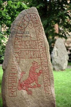 Runic stone (stone), Viking / Lund, Sweden. The runestone is 8½ feet tall and was discovered at Skårby, Sweden. The Skårby runestone is dated to about 1000 A.D. Transcription into Old Norse:  Káulfr/Kalfr ok Autir þeir settu stein þenna eptir Tuma, bróður sinn, er átti Guðissnapa. Translation in English: Káulfr(?)/Kalfr(?) and Autir, they placed this stone in memory of Tumi, their brother, who owned Guðissnapi.