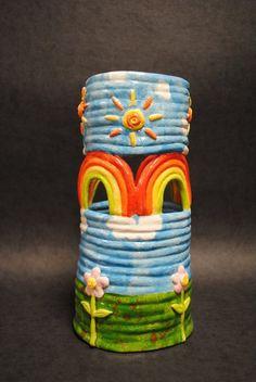 Happy Rainbow Coil Pot by ~LindseyDunno on deviantART