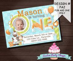 FIRST BIRTHDAY INVITATION Custom Invitation by CustomPartyShoppe, $7.50