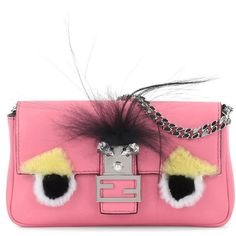 Fendi Baguette Micro Monster Bag ($1,635) ❤ liked on Polyvore featuring bags, handbags, pink multi, fox fur purse, fendi handbags, fox fur handbag, shoulder strap purses and pink purse