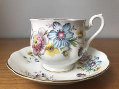 Vintage Royal Albert Flower Tea Cup and Saucer Pink Yellow