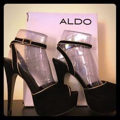 """Aldo Prowell Heels Aldo Prowell Heels. Black Velvet, Gold Trim, Ankle Strap. Never worn. About 5"""" heel height. ALDO Shoes Heels"""