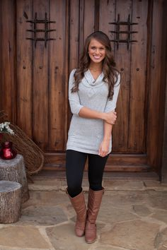 The Pink Lily Boutique - Basically Beautiful Heather Grey Pocket Tunic, $35.00 (http://thepinklilyboutique.com/basically-beautiful-heather-grey-pocket-tunic/)