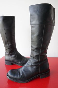 Bottes boots SALAMANDER CUIR leather Noir CAVALIERES vINTAGE vtg T 37 1/2 38