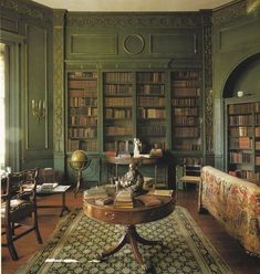 "Octagonal library in Wilbury Park, an Inigo Jones-style hunting lodge in Wiltshire, England. Library added by Fulke Greville in Image from ""Interiors"" by Min Hogg, Wendy Harrop & The World of Interiors. Beautiful Library, Dream Library, Beautiful Homes, Library Study Room, Home Library Design, House Design, Library Ideas, Home Library Decor, Cozy Library"