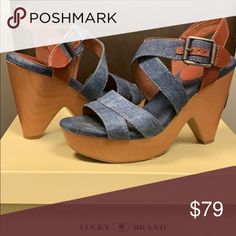162e589c120 Lucky Brand denim leather wedge heels. Lucky Brand blue denim   brown  leather wedge