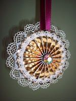 Ornament I made with Tim Holtz Rosette & Mrs Grossman Stickers