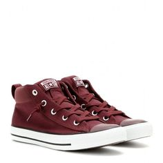 Converse Chuck Taylor Street Mid Sneakers featuring polyvore, fashion, shoes, sneakers, red, red shoes, converse trainers, red sneakers, converse shoes and red trainer