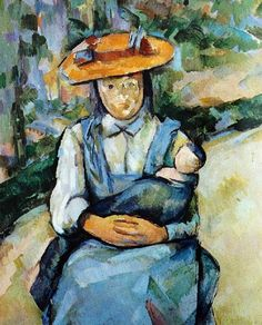 Young Girl Holding a Doll - Paul Cézanne