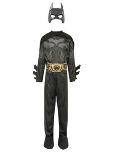 Batman costume. Fans of Batman will love transforming into their favourite super hero with this cool fancy dress costume. Featuring a full length black jumpsuit costume with an attached cape, boot tops, belt and mask.