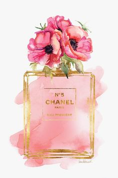 Chanel No 5 Printed fashion poster watercolor red poppies poppy print Coco… Perfume Chanel, Chanel Poster, Chanel Print, Mode Poster, Watercolor Red, Red Poppies, Pink Aesthetic, Cute Wallpapers, Iphone Wallpapers