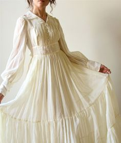 70s Gunne Sax Boho Wedding Dress - vintage ivory bone off-white cotton voile Bridal Gown, Fall hippie wedding gown, country prairie style