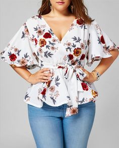 online shopping for Langstar Women Floral Plus Size Belted Surplice Peplum Blouse from top store. See new offer for Langstar Women Floral Plus Size Belted Surplice Peplum Blouse Plus Size Blouses, Plus Size Tops, Plus Size Dresses, Plus Size Women, Plus Size Outfits, Plus Size Peplum, Xl Mode, Vetements Clothing, Plus Size Fall Outfit