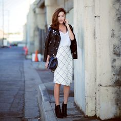 Love this look! The skirt's length is brilliant! Mixing basics together can be so fun!