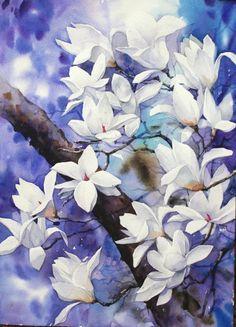 남일 수채화 Gallery Art Floral, Floral Artwork, Watercolor Sky, Watercolor Flowers, Watercolor Paintings, Watercolor Projects, Traditional Paintings, Botanical Art, Flower Art