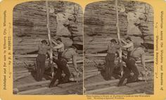 Raftsman's Series No. 1413: Working A Spanish Windlass | Photograph | Wisconsin Historical Society