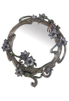 Amazon.com: 2 foot Silvery Art Nouveau Wall Mirror with Blue Delphinium Blossoms: Home & Kitchen