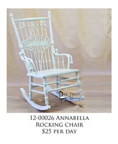 This is Annabella she is just waiting for you to rock in her. She rents for $25 per day. Chairs For Rent, Rocking Chair, Waiting, Day, Home Decor, Chair Swing, Rocking Chairs, Decoration Home, Room Decor