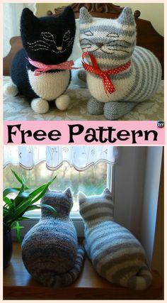Super Cute Knit Window Cat – Free Patterns #freeknittingpattern #cat #giftidea