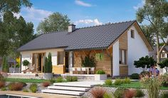 projekt BW-39 wariant 1 JGC1172 House Roof, Facade House, Model House Plan, Simple House Plans, House Wiring, Contemporary House Plans, Home Design Plans, House Layouts, Cottage Homes