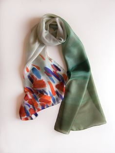 Silk scarf Poppies Fields Abstract shawl handpainted by klaradar