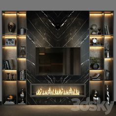 Tv Wall Decor, Wall Tv, Tv Unit Decor, Living Room With Fireplace, Home Living Room, Fireplace Tv Wall, Home Room Design, Home Interior Design, Tv Wall Design