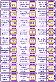 Me encanta escribir en español: El dominó de la hora. Spanish Teacher, Teaching Spanish, Teaching Resources, Time In Spanish, Spanish Lessons, Inclusion Classroom, Spanish Culture, Math Humor, Telling Time