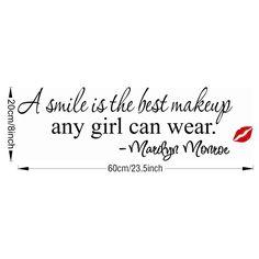 Pegatinas de pared desmontable una sonrisa es el mejor maquillaje cualquier chica puede usar cita personajes al estilo decoración de su casa dormitorio en Pegatinas de Pared de Casa, cocina y Jardín en AliExpress.com | Alibaba Group