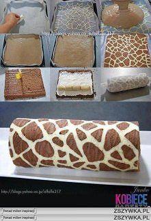 Zobacz zdjęcie Rolada żyrafa   Składniki na jasne ciasto:  1 jajko, 1 łyżka drobnego cukru  ...